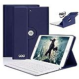 iPad Mini 1/mini 2/mini 3 Hülle Tastatur, 360 Grad rotierende Stand iPad Keyboard Case mit Mulit-Angle- Ständer-Funktion, mit Auto Schlaf/Wachen, Bluetooth Deutsches QWERTZ Layout Tastatur(Dunkelblau)