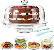 Cake Stands with 2PCS Spoons 6 in 1 Multi-Functional Cake Stand with dome 31.5CM Chip Dip Server with Dome Mas