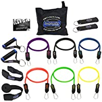 Bodylastics Stackable MAX Tension XT Premium Resistance Bands Set Includes 6 of Our BEST Quality Anti-Snap Exercise Bands, Heavy Duty Components: Anchors/Handles/Ankle Straps, a Bag and User Manual
