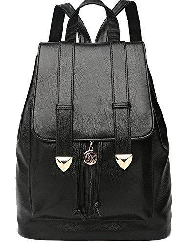 Menschwear PU Zaino Satchel Daypack sacchetto di scuola Nero Nero