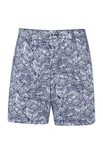Mountain Warehouse Lakeside II Bedruckte Damenshorts - Strand-Shorts mit UV-Schutz, leichte Sommershorts mit Taschen - ideal für Spaziergänge, zum Wandern, auf Reisen Marineblau DE 38 (EU 40)