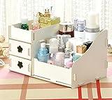 blxi Holz Kosmetik Aufbewahrungsbox Desktop Make-up Fall Container (weiß)