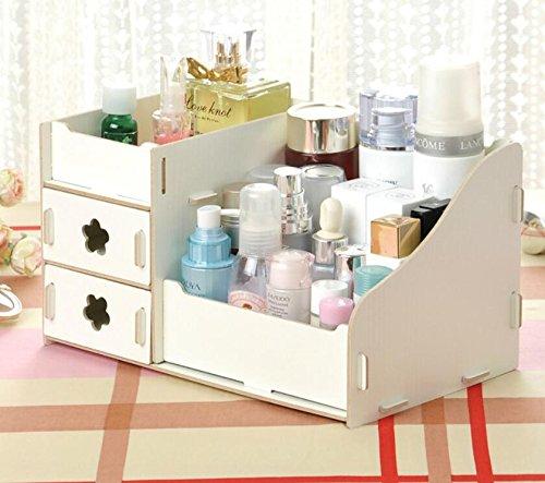 makeup Storage box, scatola per cosmetici in legno con cassetti tavolo salvaspazio per bagno/camera da letto