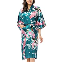 BELLOO Ladies Silky Long Kimono Dressing Gown, Peacock Blue 3XL
