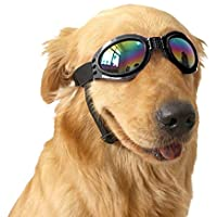Angker Gafas de sol para perro, gafas para mascotas, gafas de sol plegables para mascotas, gafas de protección UV resistente al viento, gafas para perro (negro)