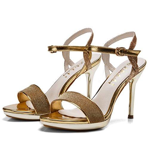 High Heel scarpe con fibbia moda paillettes Belle impermeabile con donne di Sandali Sulla Nuova fibbia Word Toe Golden
