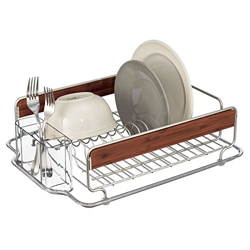 mDesign Bamboo Sink Drainer - Draining Rack with Cutlery Holder and Plenty of Space for Plates, Bowls, Glasses and More - Premium Stainless Steel Dish Drainer