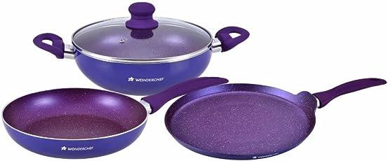 Wonderchef Blueberry Induction Base Aluminium Cookware Set, 3-Pieces, Blue