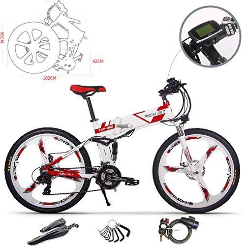 RICH BIT Bicicleta de Montaña Eléctrica, Unisex Adulto, Urbana EBIKE-26,Rojo