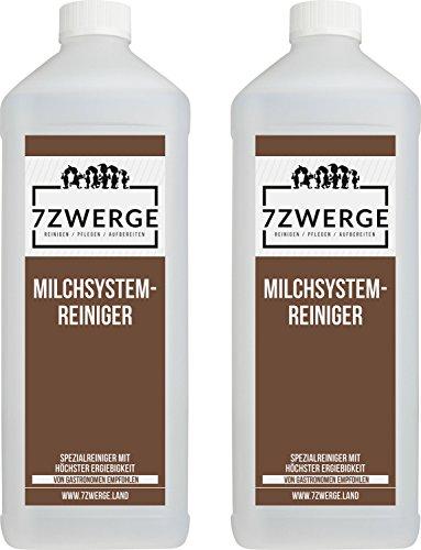 7Zwerge I 2 x 1000 ml Milchsystemreiniger I Milchschaum-Reiniger I Milchaufschäumer I Milchreiniger I Milchdüsenreiniger Konzentrat für Kaffeevollautomaten I Kaffee-Maschinen