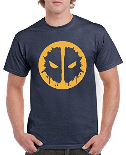 Comedy Shirts - Deadpool Logo - Herren T-Shirt - Navy / Gelb Gr. - Deadpool Machen