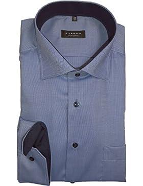 eterna Herren Businesshemd Comfort Fit Langarm Marine Strukturiert mit Classic Kent-Kragen