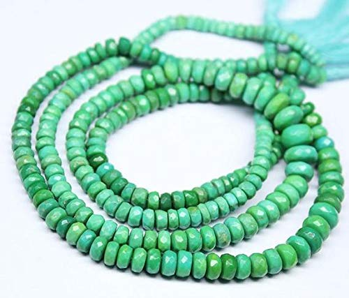 Earth Gems Park Super Fine Quality Gems Jewelry Himalayan Green Turquoise Faceted Rondelle Gemstone Craft Beads Strand 15