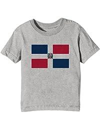 Erido Dominicano República Nacional Bandera Niños Unisexo Niño Niña Camiseta Cuello Redondo Gris Manga Corta Todos