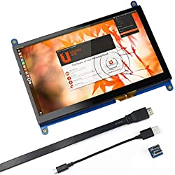 pour Raspberry Pi Moniteur HDMI à écran Tactile capacitif de 7 Pouces - Écran de Jeu à Affichage à Cristaux liquides HD 1024x600, Drive Free pour Raspberry Pi/Windows 10 / Beagle Bone Black et
