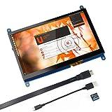 Für Raspberry Pi 7 Zoll kapazitiver Touchscreen-HDMI-Monitor - 1024 x 600 HD-LCD-Gaming-Bildschirm, Drive Free für Raspberry Pi/Windows 10 / Beagle Bone Black und Banana Pi