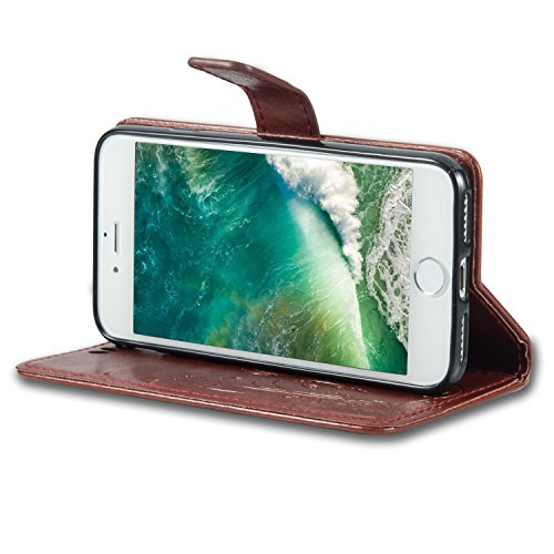 Coque Etui pour iPhone 8, Bonice Coque en Cuir Flip Etui Housse Folio Bookstyle Housse Portefeuille Echelle Style Coque Housse Leather Case Wallet Shell de Protection Flip Cover Protector Coquille Cou B - Brun Rougeâtre