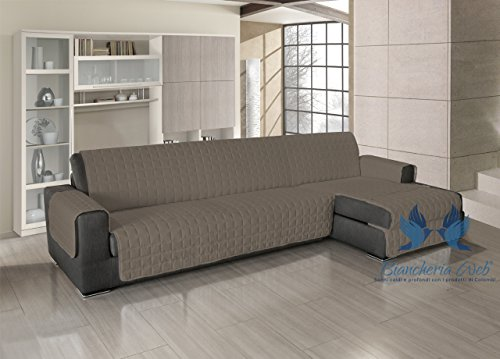 Copridivano trapuntato per divani con penisola in tinta unita 240-245 cm tabacco