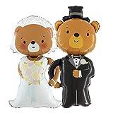 Das Hochzeits-Set: Brautpaar Braut & Bräutigam Bären Ballons je 110cm groß - Hochzeit Geschenk Folienballon Luftballon