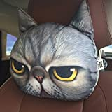Generic Red : New Cool Lovely 3D Printed Animals Face Car Headrest Pillowcase Seat Covers Neck Auto Safety Headrest Supplies Without Filling