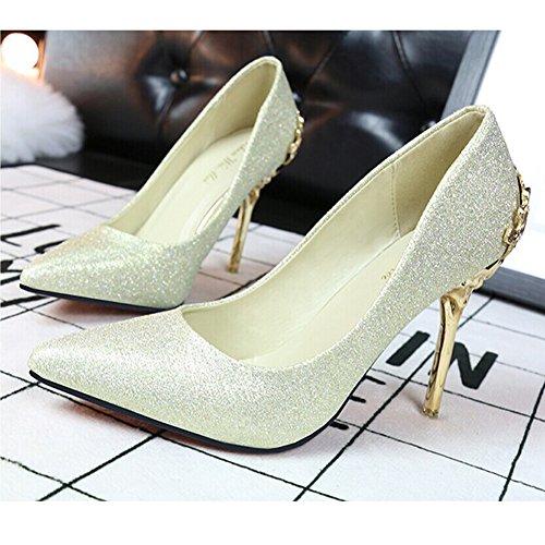 Chaussures à talon femme ,escarpin Sexy talon aiguille Chaussures de mariage bout pointu Or