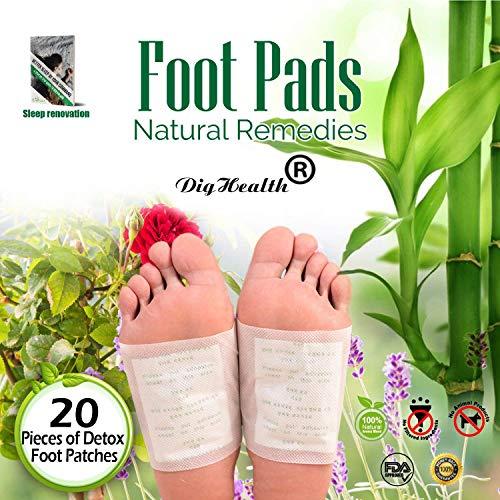 20 pcs Parches Detox Pies, DigHealth Parches para los pies, Parches de Almohadillas de pie, Cuidado del dolor Cuidado de la Salud Almohadillas de pie Almohadillas de pie Parche adhesivo