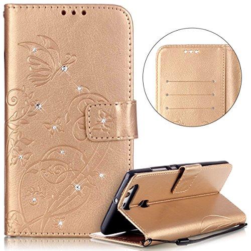 Huawei P9 Hülle,Surakey Handyhülle Für Huawei P9 Lederhülle Wallet Tasche  Brieftasche PU Leder Flip