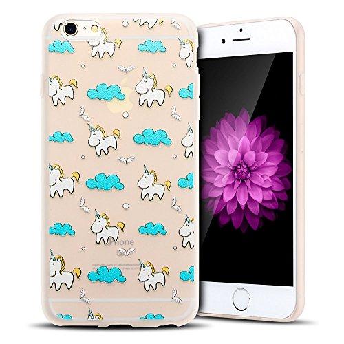 Coque iPhone 6S Plus , Etui iPhone 6 Plus TPU Case Silicone Transparente Slim Souple Étui de Protection Flexible Soft Cover avec Motif Spécial Anti Choc Ultra Mince Integrale Couverture Bumper Caoutch Licorne 3