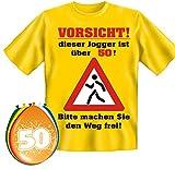 T-Shirt Fun Shirt Vorsicht dieser Jogger ist über 50 Jahre alt Größe M zum 50. Geburtstag + 8 Luftballons, lustige Geschenke