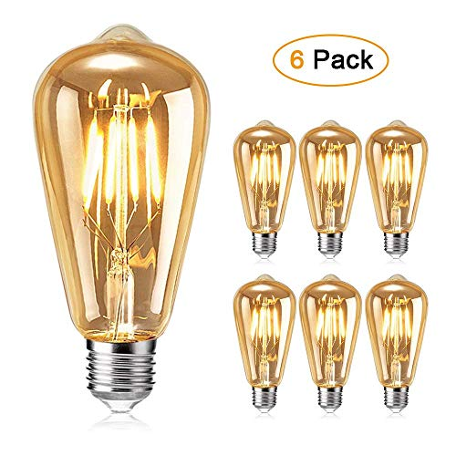 Ampoule Edison, otutun Ampoule LED Vintage Lampe Décorative E27 4W Rétro Filament Ampoule Antique Blanc Chaud pour Restaurant, Café, Windows, Showrooms Ampoules à incandescence- 6 Pack