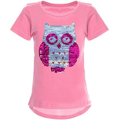 BEZLIT Mädchen Wende-Pailletten T-Shirt Tollen Eulen Motiv 22031 Dunkelrosa Größe 128 (Pailletten-kleid Für Mädchen)