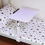 LVZAIXI Bett Tisch Schreibtisch Desktop Haushalt Einfache Laptop Tisch Künstliche Tafel Rosa Weiß 55 * 32cm Höhenverstellbare Faule Tischfalte Mobil Nachttisch Student Tisch ( Farbe : Weiß )
