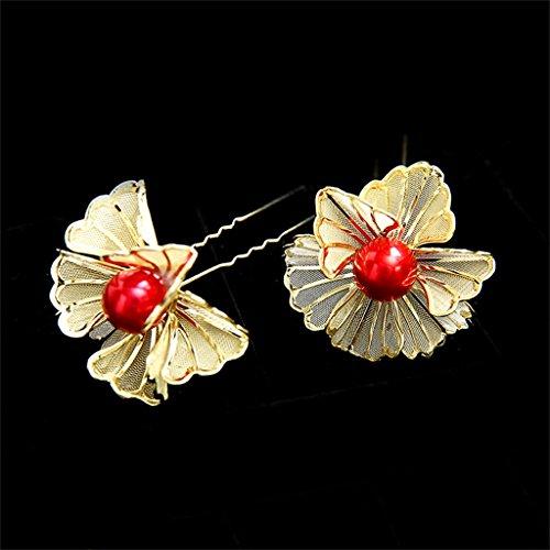DELLT- Mode Braut Gold Kopfschmuck Chinesisch Typ U Haarnadel Rot Flagge Kleid Blume Kostüm Kleid Haarnadel Haarnadel Ein Satz von (Kleid Rot Sechs Kostüm)