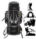 TRAWOC 60L Travel Backpack for Outdoor Sport Camp Hiking Trekking Bag Camping Rucksack (Black)