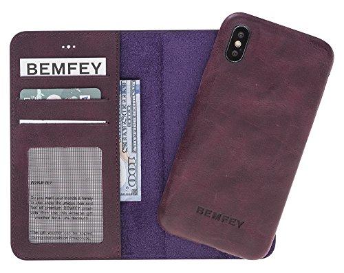 BEMFEY iPhone X Case Monaco in Elegantem Premium Leder • Die 2 in 1 Lösung mit magnetischer und Herausnehmbarer Handyhülle aus Dem Lederetui • Made in Europe • Farbe Purple Violett (Leder-lösung)