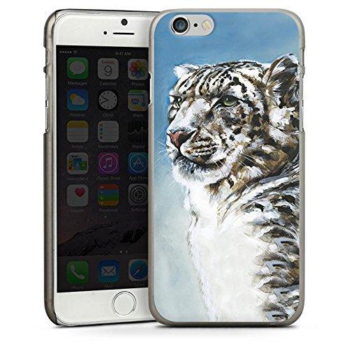 Apple iPhone 4 Housse Étui Silicone Coque Protection Panthère des neiges Léopard Neige CasDur anthracite clair