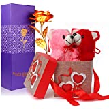 TIED RIBBONS Valentine Day Gift for Husband Wife Girlfriend Boyfriend Him Her - Gift Combo (Valentines Special Artificial Rose and Teddies with Gift Box)
