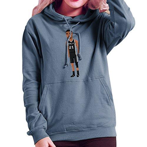 Tim Duncan Basketball-spur (Tim Duncan San Antonio Spurs NBA Pixel Women's Hooded Sweatshirt)