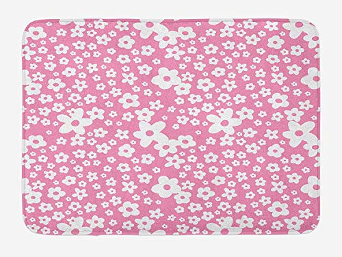 MSGDF Floral Bath Mat, Cartoon Daisies Like Flowers in Big and Small Patterned Art Print Image, Plush Bathroom Decor Mat with Non Slip Backing, 23.6 W X 15.7 W Inches, White and Hot Pink
