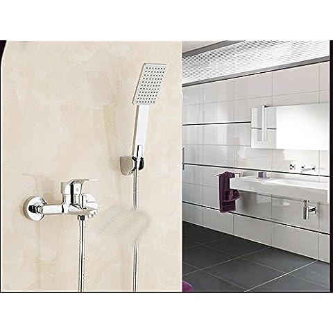 CAC Miscelatore incasso per doccia rame bagno rubinetto per doccia tripla valvola di miscelazione calda e fredda bagno doccia rubinetto set, five + + function sprinkler hose bracket