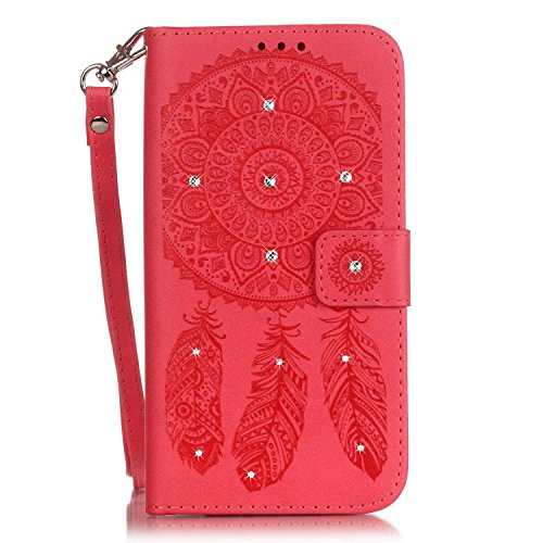 Etsue Glitzer Schutzhülle für iPhone 6 Plus/6S Plus Leder Flip Case Lanyard Strap Design, [Rose Blumen Floral Schmetterling] Muster 3D Bling Kristall Diamant Strass Wallet Cover Hülle Etui Handyhülle  Strass,Campanula,Rot