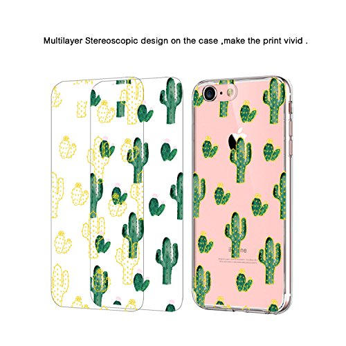 JIAXIUFEN TPU Gel Silicone Protettivo Skin Custodia Protettiva Shell Case Cover Per Apple iPhone 7 (2016) / iPhone 8 (2017) - Fiore Floreale Design Rose Flower Multilayer Cactus