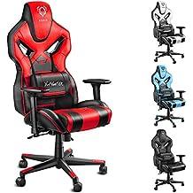Diablo X-Fighter Gaming Silla de oficina, reposabrazos ajustables 4D, malla de aire, soporte lumbar ajustable, función de inclinación, cubierta de imitación de cuero, selección de color (negro-rojo)