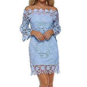 cea9ff02e2e17 Auxo Women Off Shoulder Pencil Dress Vintage Floral Lace Long Sleeve Mini  Dress Cocktail Party Swing Dress