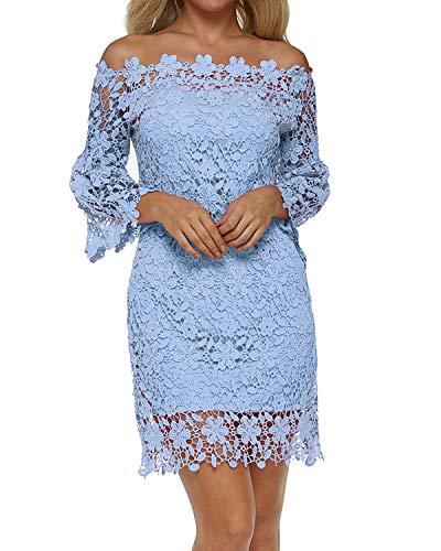 Auxo Robe de Soirée Femme Chic Dentelle Bustier Manche Longue Robe Cocktail Courte Col Bateau Sexy Bleu XL