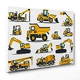Bild auf Leinwand Canvas–Gerahmt–fertig zum Aufhängen–Maschinen Terra–Bagger Traktor–Illustration für Kinder Dimensione: 70x100cm A - Senza Cornice