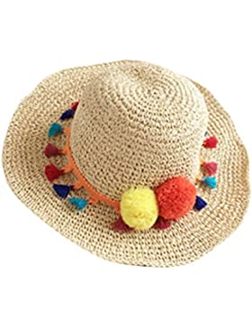 Moollyfox Verano Disquete Sombreros de Paja de Sol, Borla del Ala Ancho Playa Gorra Para Mujer Beige
