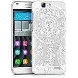 kwmobile Elegante y ligera funda Crystal Case Diseño atrapasueños para Huawei Ascend G7 en blanco transparente