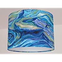 Handmade Abstract Ocean Sea Waves Blue Turquoise Fabric Drum Lampshade Lightshade