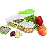Food Chopper Onion Chopper Vegetable Slicer Dicer Fruit and Cheese Cutter 3 Interchangeable Safe Blades Container & Cleaner - By Nuovva